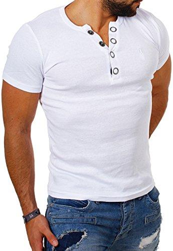 Young & Rich Herren Uni feinripp T-Shirt mit Knopfleiste & tiefem Ausschnitt deep V-Neck einfarbig big buttons große Knöpfe 1872, Grösse:L;Farbe:Weiß (Gerippter V-neck-shirt)