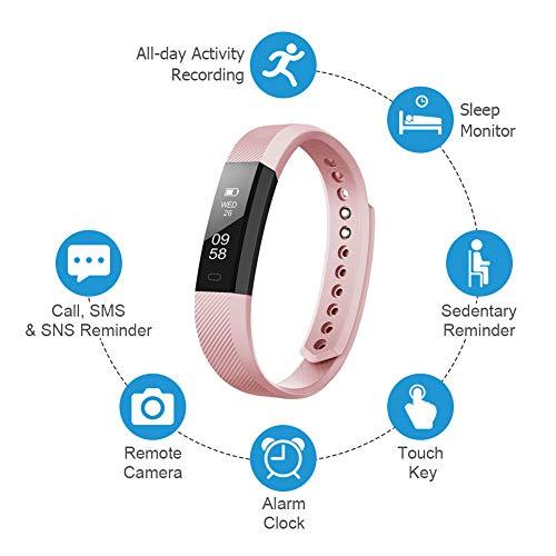 Letscom Fitness-Tracker-Armbanduhr mit Slim-Touch-Bildschirm und Armbändern, tragbarer Activity-Tracker, Schrittzähler, Schlaf, Monitor für Android und IOS, rose