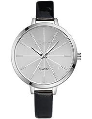 Rcool - mujeres moda de números romanos cuero de imitación analogico reloj de pulsera de cuarzo Muñequeras (Negro)
