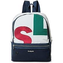 Desigual - Bag Logomania Novara Women, Bolsos mochila Mujer, Blanco, 12x35.3x28