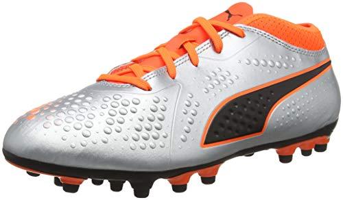 Puma Unisex-Kinder ONE 4 SYN AG JR Fußballschuhe, Silber Silver-Shocking Orange Black 01, 34 EU