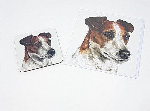 Ensemble 2 pièces jack russell chien toutou fabriqué en Royaume-Uni accueil anniversaire carte de Noël Dessous De Verre