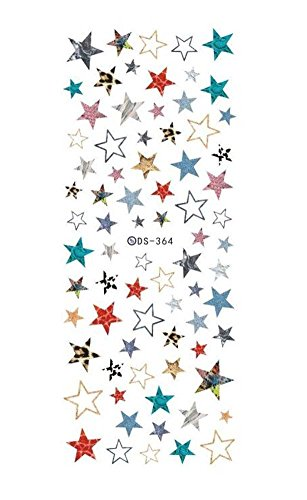 5 feuilles Colorful Stars Design Water Transfer Nail Stickers Art