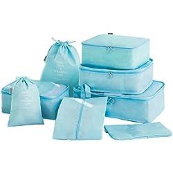 8 en 1 Set de Organizador de Equipaje, JIM'S STORE Cubo de Embalaje Impermeable Organizador de Maleta Bolsa para Ropa Zapato Maquillaje (Azul)