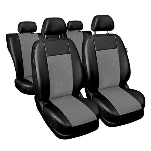 Universal Grau Kunsleder Sitzbezüge Komplettset Sitzbezug für Auto Sitzschoner Set Schonbezüge Autositz Autositzbezüge Sitzauflagen Sitzschutz Superior (Auto Sitzbezüge Honda Civic)