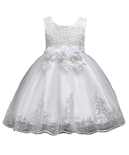 Babyonlinedress® Mädchen Kleid Festlich Weiß Kommunionkleid Blumen-mädchen Spitze Blumen Pailletten Kleid Prinzessin Party Kleid Hochzeit Festzug 110 cm