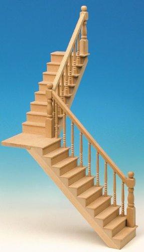 MiniMundus Abgewinkelte Podesttreppe (für Raumhöhe 25 cm) für Das Puppenhaus, Bausatz