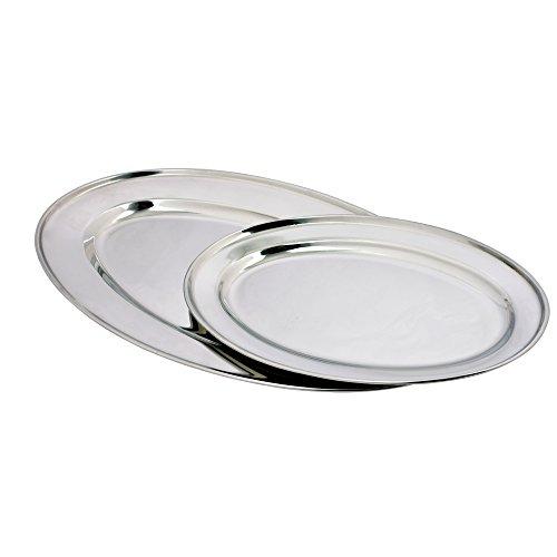 Kosma 2er Set Edelstahl Oval Tablett Serviertablett | Reis | Teller | Oval Platter | Schüssel Platte | ovale Platten - 40 cm