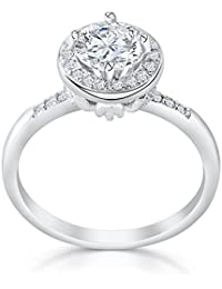 Graceful 925 Sterling Silver Brilliant Cut Cubic Zirconia Ring - CZ Silver rings