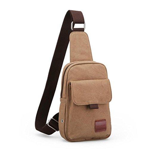 Global-Herren Sporttasche Brustbeutel koreanische beiläufige Segeltuchschulterbeutel Mannbeutel Student Messenger Tasche Taschen Khaki (Upgrade-Abschnitt)