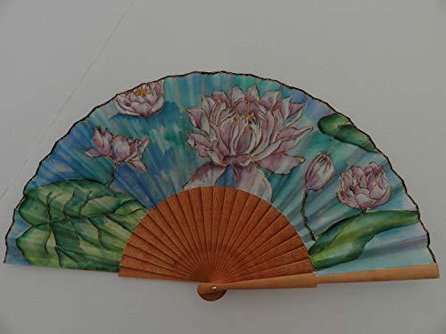 Abanico español/abanico pintado a mano/Abanico nenúfares/Abanico artesanal/Abanico de madera