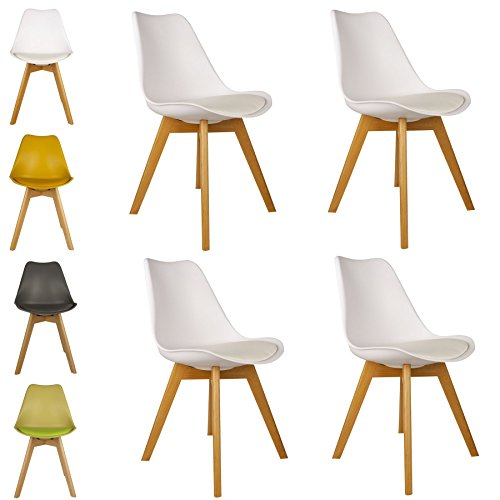 Cosy7 Luna Collection Jamie Tulip Inspired Modern Padded Dining Chairs White Set of 4 | Solid Beech Wooden Legs, Comfy Cushioned PU Seat, Well Blended Colours & Timeless Retro Design | For Living Room, Desk, Patio, Terrace, Office, Kitchen, Lounging, Cafeterias & More