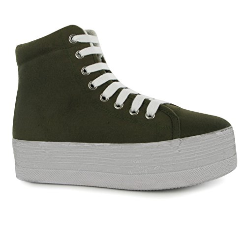 Jeffrey Campbell Play Canvas Wash Damen Plattform Hi Sneaker Plateau Turnschuhe Khaki/White 3 (Schuhe Canvas Distressed)