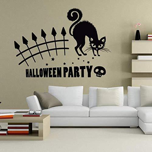 Wandaufkleber Halloween Party Geschnitzte Fensterwand Vinyl Art Home Room Decor Katze Wandaufkleber 42X59 Cm