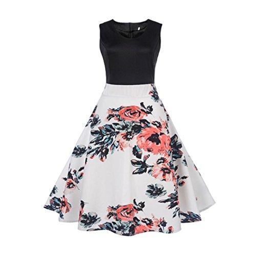 OVERDOSE Damen Blumen Vintage 1950er Ärmellos Casual Abend Partei Abschlussball Schwingen Kleid Cocktailkleid Rockabilly Kleid(A-White2,EU-44/CN-2XL)