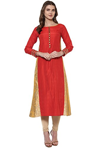 Janasya Women's Banarasi Silk A-Line Gold Foil Print Kurta (CAT021-KR-162-L)