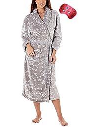cc4080d5b9 i-Smalls Women s Floral Pattern Katya Shawl Collar Fleece Robe with Heart  Eye Mask