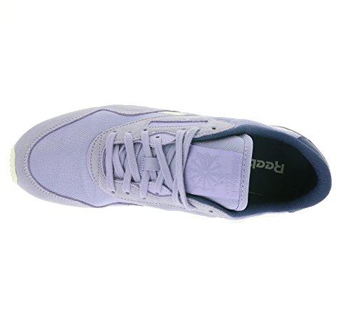 Reebok Damen Cl Nylon Slim Core Laufschuhe Violett / Blau / Weiß (Moon Violet / Midnight Blue / Chalk)