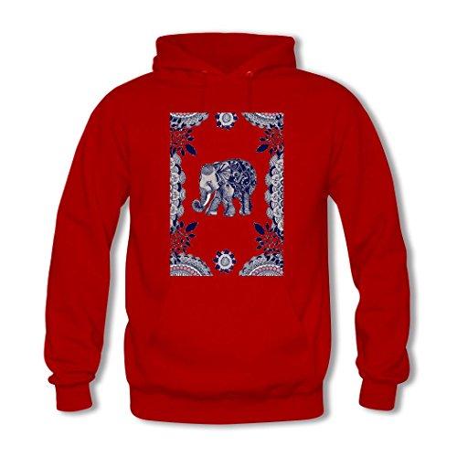 HGLee Printed Personalized Custom Elephant Classic Women Hoodie Hooded Sweatshirt Red--1