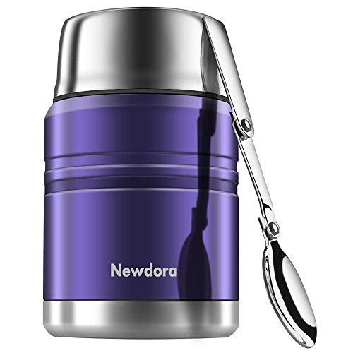 Newdora contenitore termico per alimenti 500ml, portavivande lunch box contenitore isotermico con e cucchiaio pennello,blu