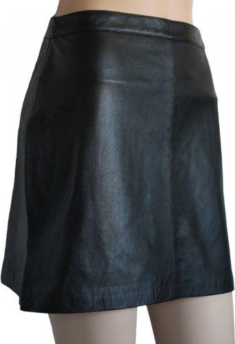 Trendiger Mini Lederrock aus Lammnappa Business Rock echtleder schwarz, Größe:40
