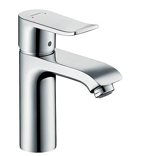 hansgrohe Wasserhahn Metris (Armatur mit Auslauf Höhe 110mm und Zugstangen-Ablaufgarnitur) Chrom