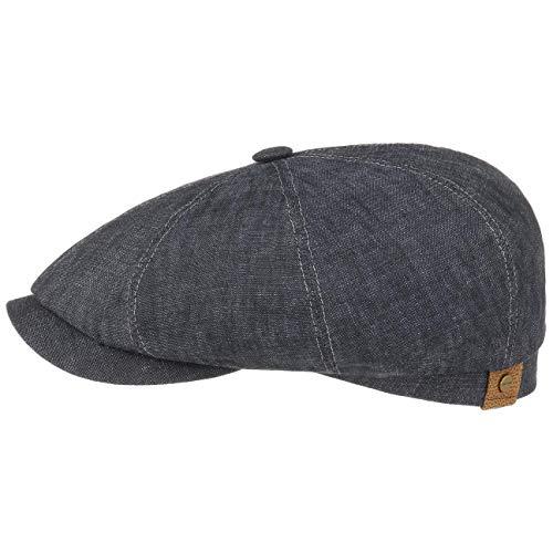 Stetson Hatteras Flatcap Leinen Damen/Herren | Mütze mit Baumwollfutter | Flat Cap mit Sonnenschutz UV 40+ | Schirmmütze Frühjahr/Sommer | Ballonmütze Denim 59 cm
