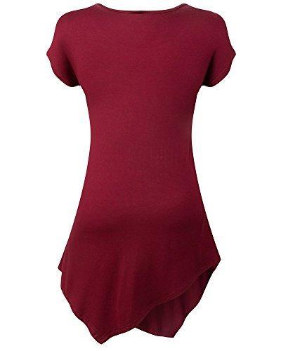 Moollyfox Casuel Ras Du Cou Court Femmes Manches T-Shirt Vin Rouge