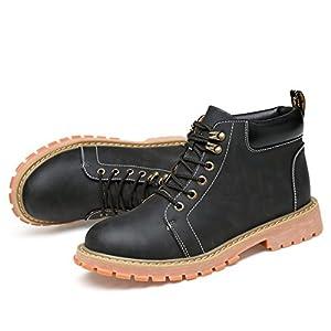 Hombres zapatos vestido escalar montañas otoño aire libre [fondo blando] botas resbalón encendido negro-marrón-A Longitud del pie=44.5EU