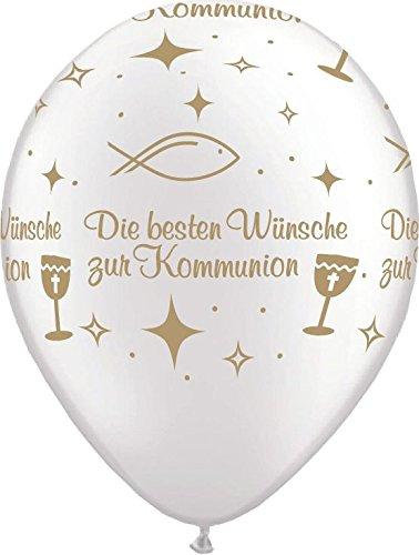 Luftballons Die besten Wünsche zur Kommunion Qualatex, weiß/gold, ca. 30 cm, 5 St.