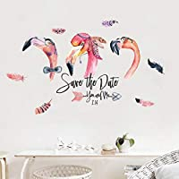 QWEDSA Home decorationfeather red Flamingo Art Cartoon Wall Stickers Children
