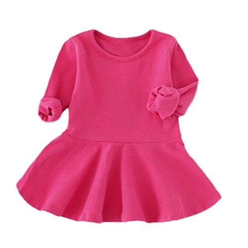 Kleinkind Baby Mädchen Kleidung Babykleidung Floral Bow Outfits Kleid Mädchen Blumenkleidung Lange Hülsen Kleid Langarm Kleidung Blumendruck Prinzessin Kleider (12M-4Jahr) LMMVP (Hot Pink, 80 (12M)) (Outfit Jacke Shirt)