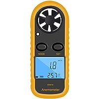 fgyhtyjuu GM816 Digital Viento del anemómetro del Metro del calibrador Velocidad de Flujo de Aire LCD portátil medidor de Viento Termómetro