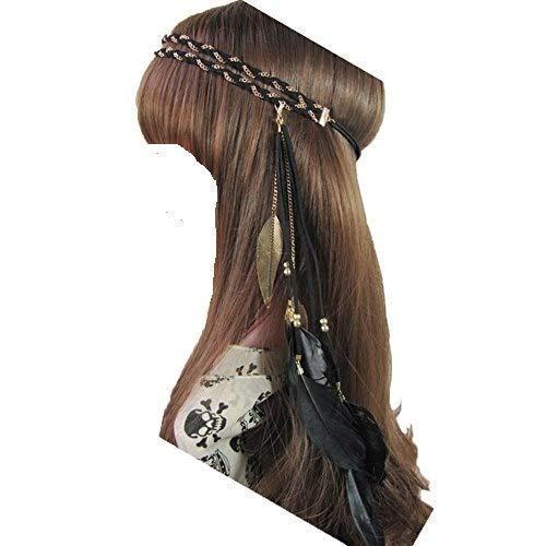 iKulilky Damen Stirnbänder Feder Quasten Gürtel Stirnband Boho Indisch Haarbänder Haarband Kopfschmuck Haar Hippie Boho Haarschmuck Haarbänder - Geflochtene Breite Gürtel