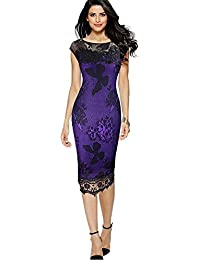 Minetom® Women Elegant Sleeveless Lace Crochet Midi Pencil Dress Ladies Sexy  Business Working Bodycon Cocktail 9cddc70c4b6e