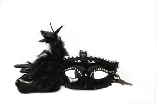 Partysanthe Women Venetian Masquerade Eye Mask Princess Feather Rhinestone Halloween Black With Stoned Eyebrow