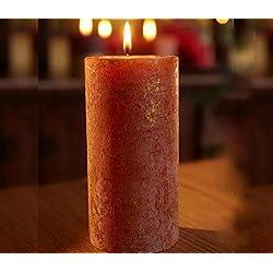 ST Eval aroma oro mármol pilar vela–naranja y canela–Especias y cítricos. Perfecto regalo de Navidad rústico o mesa de comedor característica.