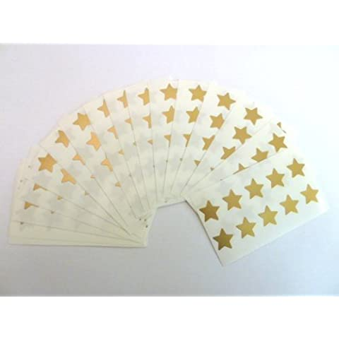 180 Etiquetas , 15mm Estrellas , Dorado Mate , Código De Color Pegatinas , autoadhesivo Adhesivo Etiquetas