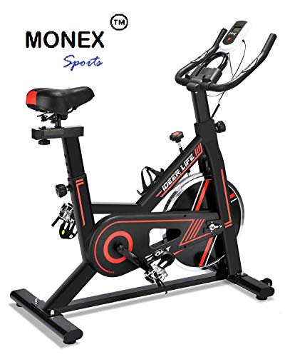 Monex iDeer Exercise Bike, Indoor Cycling Bike, Smooth & Quiet Stationary Spin Bike, Fully Adjustable w/Heart Rate Sensor (Black/Red 09032)