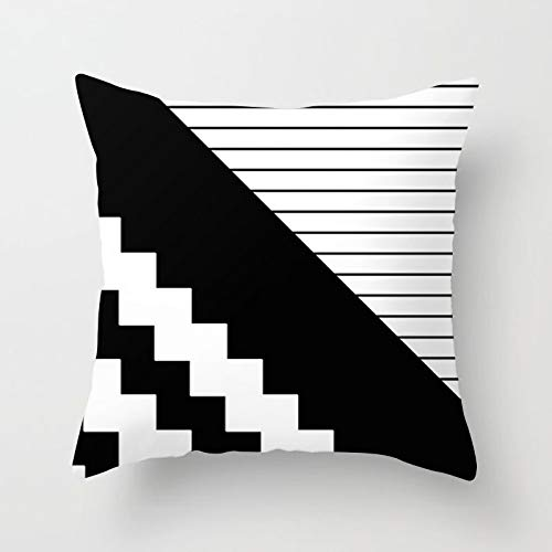 PotteLove Geometric Black and White Striped Dotted Grid Triangular Art Polyester Square Decorative Throw Pillow Covers Case Cushion Pillowcase for Sofa Bench Bed Home Decor 26