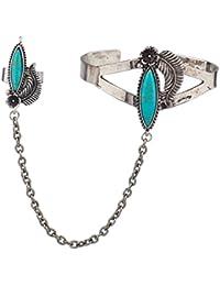 LUX accesorios turquesa bruñido piedra Cuff pulsera esclavo anillo hoja Floral flores de metal
