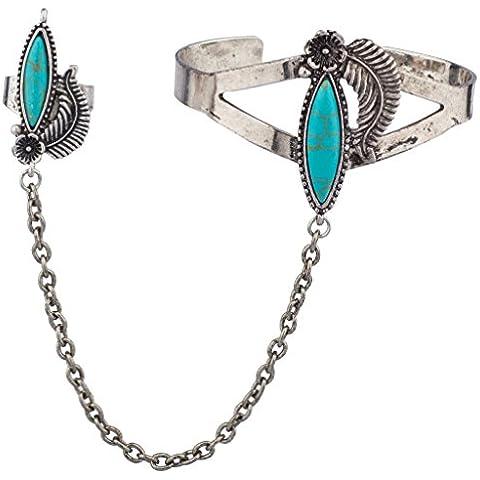 Lux accessori in pietra turchese Bracciale Schiava Anello in metallo foglia floreale - Womens Anello Trio