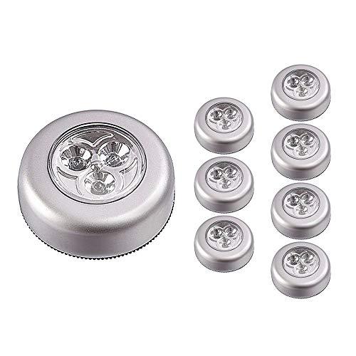 8/Set LED batteriebetriebenen Wireless Aufklebbarer Nachtlicht Touch Tippen 3-LED Lampe Push Licht für Auto Closet Schrank oder Utility (Utility-schrank-licht)