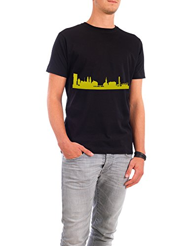 "Design T-Shirt Männer Continental Cotton ""Zürich 06 Skyline Spring-Green Print monochrome"" - stylisches Shirt Abstrakt Städte Städte / Zürich Architektur von 44spaces Schwarz"