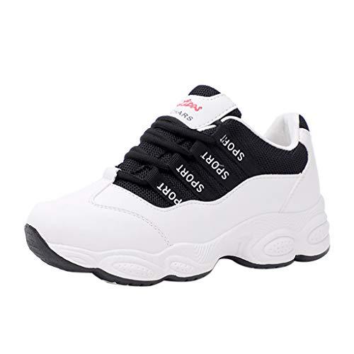 ZIYOU Sneaker Damen Runde Atmungsaktiv Laufschuhe Sportschuhe Outdoorschuhe Bequem Gym Fitness Schnürer Freizeitschuhe (Schwarz,37 EU)
