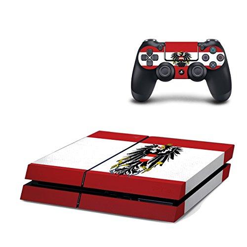 Playstation 4 Konsole + 2 Controller Design Schutzfolie Skin Faceplates Schutz Folie Motiv Österreich ( Herstellung in Deutschland )