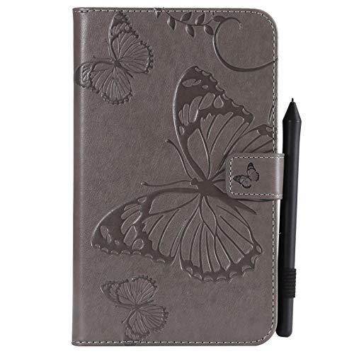 RZL Tablets und Telefon Hüllen und Taschen, Für Samsung Galaxy Tab A 7.0 Zoll 2016, Schmetterling Blumen Blumenmuster PU Leder Geldbörse Stand Tablet Case, Modell SM-T280 / T285 (Farbe : Grau)