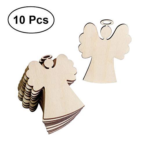 Tinksky pendenti a forma di angelo di legno decorazioni appendenti di decorazione di natale per il regalo di natale dell'albero di natale diy 10pcs