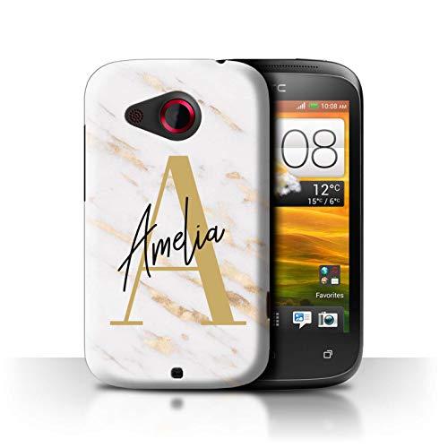 eSwish Personalisiert Individuell Marmor Initialen Handschrift Hülle für HTC Desire C/Klassische Gold Buchstabe Design/Initiale/Name/Text Schutzhülle/Case/Etui (Buchstabe Stuff C)