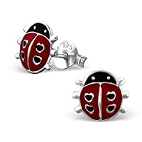 Laimons Childrens�?? Earrings Childrens�?? Jewellery ladybird red, black 925 Sterling silver